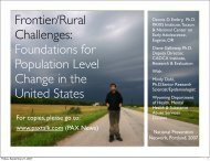 Frontier/Rural Challenges: Foundations for Population Level ...
