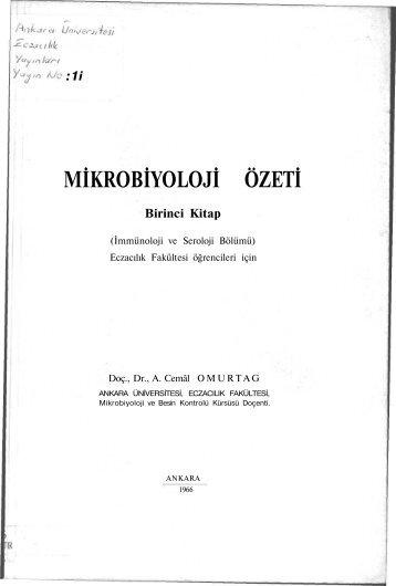 MİKROBİYOLOJİ ÖZETİ - Bilecik Üniversitesi