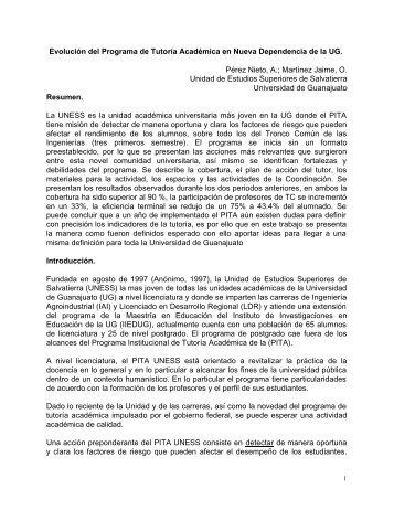 Evolución del Programa de Tutoría Académica en Nueva ...