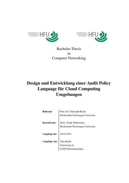 Design und Entwicklung einer Audit Policy Language für Cloud ...