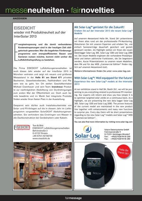Intersolar 2013 - fairmessage.de