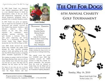 6th Annual Charity Golf Tournament - Tee Off For Dogs