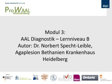 Modul 3: AAL Diagnostik – Lernniveau B Autor: Dr ... - AAL Akademie