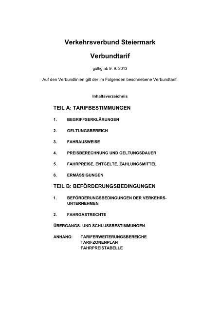 Tarifbestimmungen gültig ab 9. September 2013 - Verkehrsverbund ...