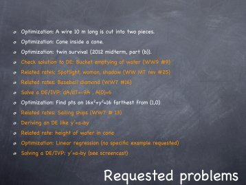 Requested problems