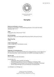 Kursplan - Pedagogiskt arbete som forskningsfält - Karlstads ...