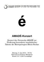 AMADÉ-Konzert - Staatliche Hochschule für Musik und Darstellende ...