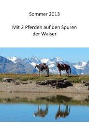 Sommer 2013 Mit 2 Pferden auf den Spuren der ... - Alpentrekking