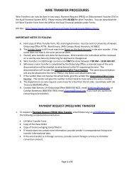 WIRE TRANSFER PROCEDURES - University of Hawaii