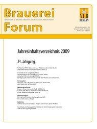 Jahresinhaltsverzeichnis 2009 - und Lehranstalt für Brauerei in Berlin
