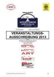 VERANSTALTUNGS- AUSSCHREIBUNG 2013 - Jacques Lemans ...