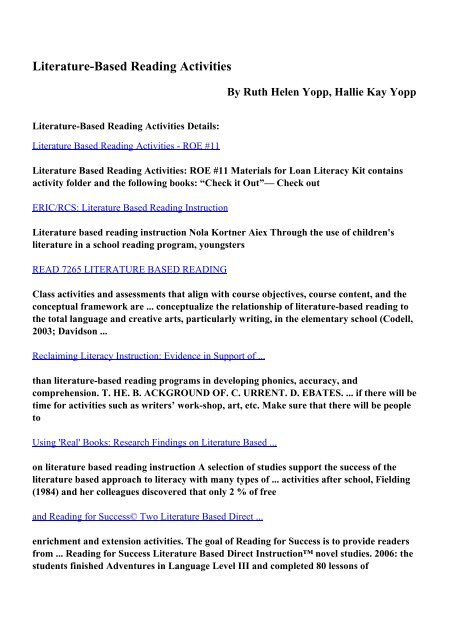 Download Literature-Based Reading Activities pdf ebooks by Ruth ...