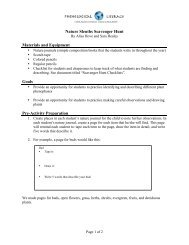 Nature Sleuths Scavenger Hunt Materials and Equipment Goals Pre ...