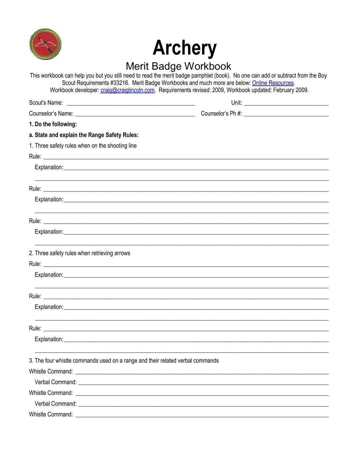 Worksheets Archery Merit Badge Worksheet Chicochino Worksheets – Bsa Cooking Merit Badge Worksheet
