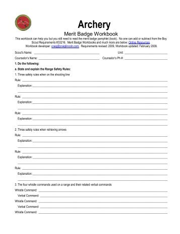 Worksheets Archery Merit Badge Worksheet archery merit badge worksheet answers studimages com rifle shooting meritbadgedotorg