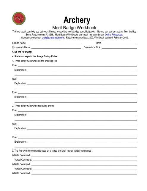 the Archery Merit Badge Worksheet.