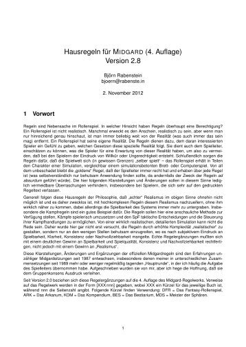Hausregeln f¨ur MIDGARD (4. Auflage) Version 2.8