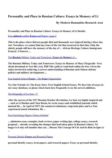 Download Personality And Place In Russian Culture Essays In  Download Personality And Place In Russian Culture Essays In