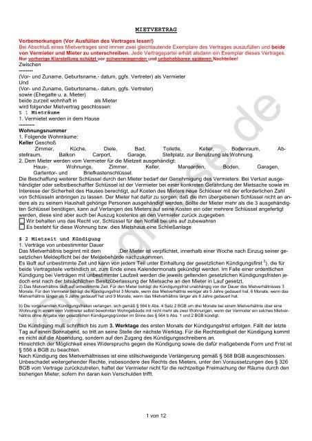 Augenblicklicher Mietvertrag Grosse Hausverwaltung Wohnungen