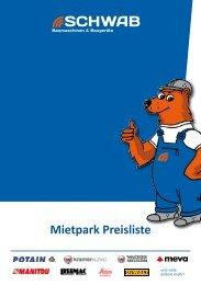 Mietpark Preisliste - Schwab Baumaschinen Baugeräte