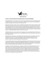 Music Programme Press Release FINAL - The Ark