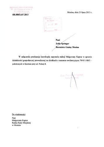Zapytanie oraz pismo przekazujące sprawę Burmistrzowi Gminy ...