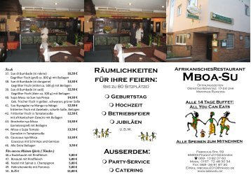 Info & Menü - Mboa-Su