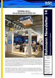 Neuer Newsletter Nr. 14 verfügbar - Rohmann GmbH