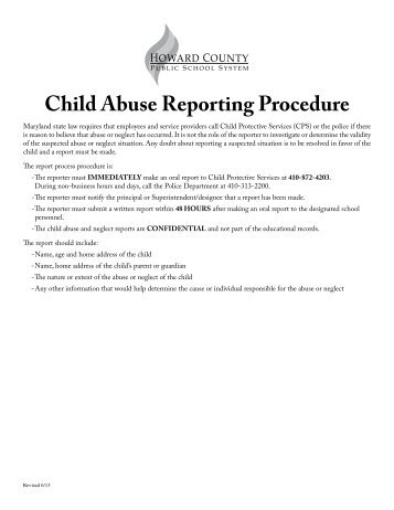 Child Abuse Reporting Procedure
