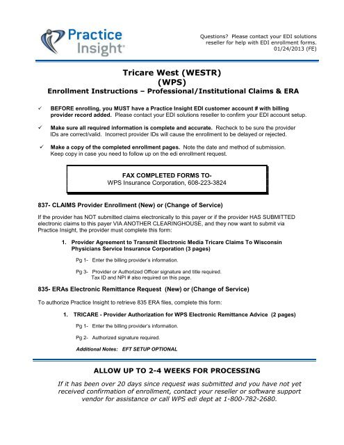 Tricare West (WESTR) (WPS) - Practice Insight