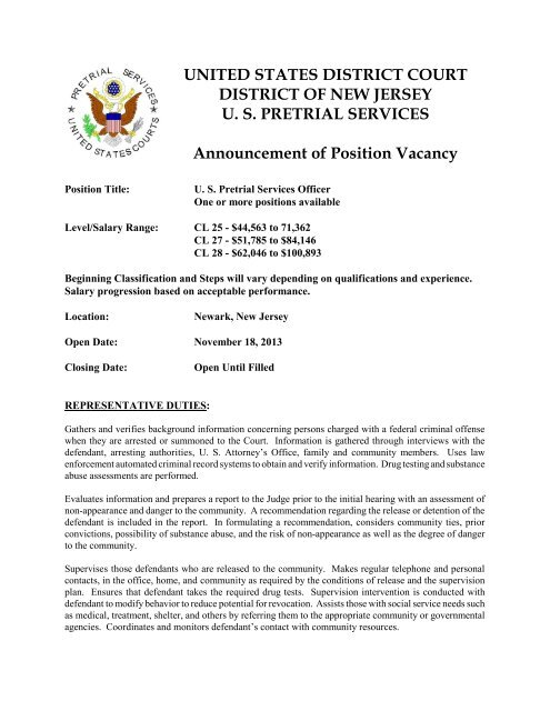 Announcement of Position Vacancy - US Pretrial Services Agency