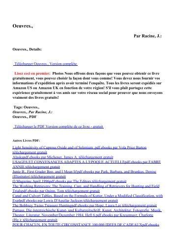 Oeuvres.,pdf ebooks par Racine, J.: téléchargement gratuit