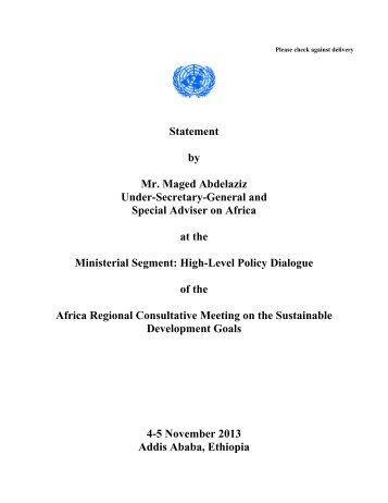 Remarks by Mr. Maged Abdelaziz, Under Secretary General, United ...