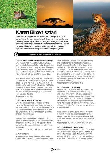 Karen Blixen safari - Solresor