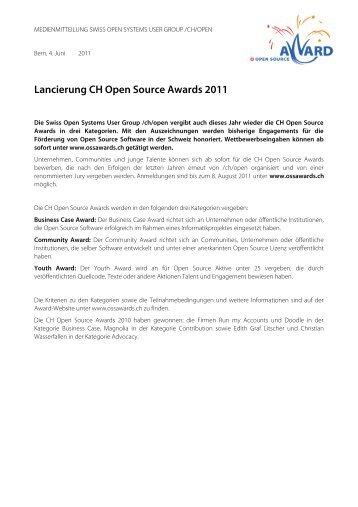 Lancierung CH Open Source Awards 2011