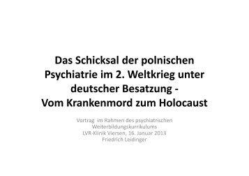 Vortrag Dr. Leidinger vom 16.01.2013 - LVR-Klinik Viersen
