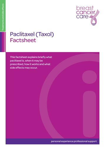 Paclitaxel (Taxol) Factsheet - Donate - Breast Cancer Care