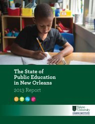 The State of Public Education in New Orleans 2013 Report