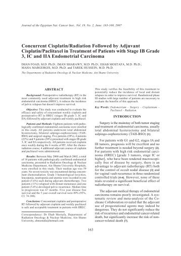 Concurrent Cisplatin/Radiation Followed by Adjuvant Cisplatin ... - NCI