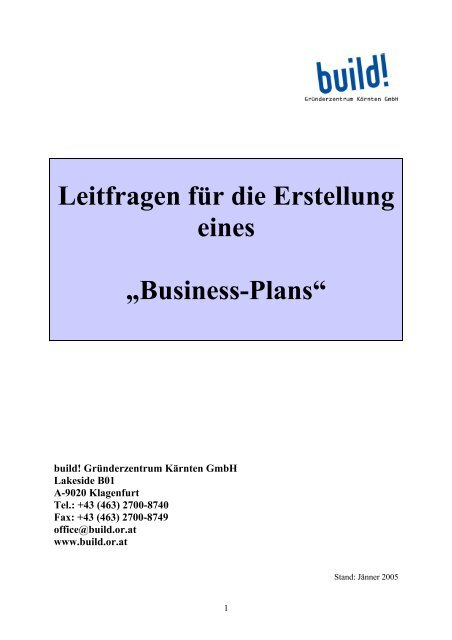 Build Business Plan | Leitfragen Zum Businessplan Build