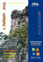 Programm Frühjahr 2013 - Volkshochschule des Schwalm-Eder ...