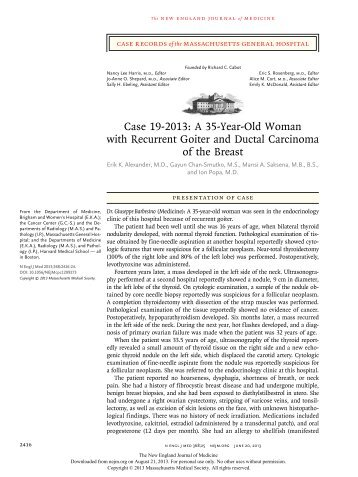 Case 19-2013: A 35-Year-Old Woman with Recurrent Goiter and ...