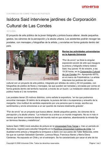 Isidora Said interviene jardines de Corporación Cultural ... - Noticias