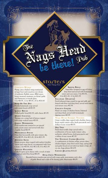 Our Menu - The Nags Head Pub