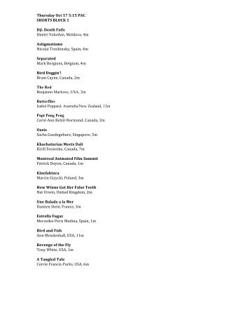 Preview the 2013 Film Schedule (downloadable ... - SoDak Animation