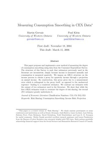 Measuring Consumption Smoothing in CEX Data - LAEF ...