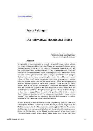 Franz Reitinger Die ›ultimative‹ Theorie des Bildes - Gesellschaft für ...