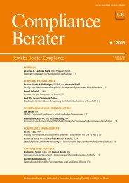 Betriebs-Berater Compliance 0 / 2013 - Compliance-Berater