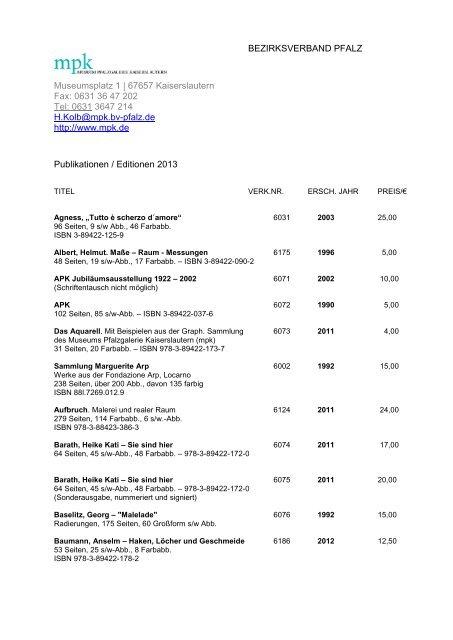 Publikationsliste - Pfalzgalerie Kaiserslautern