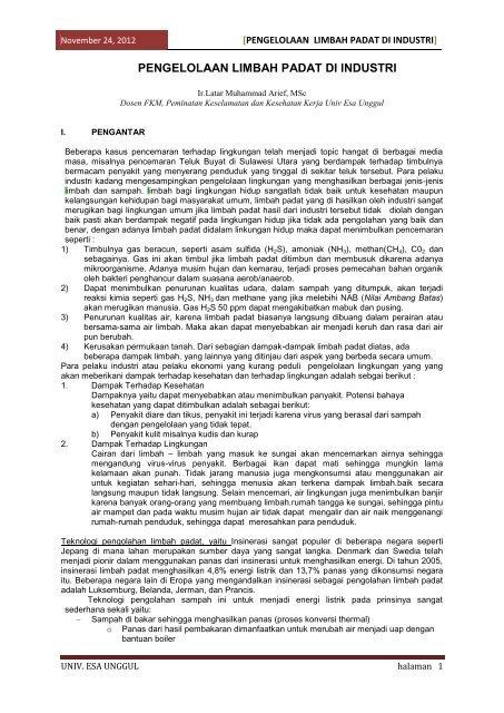 Pengelolaan Limbah Padat di industri - IKK357 – Pengolahan ...